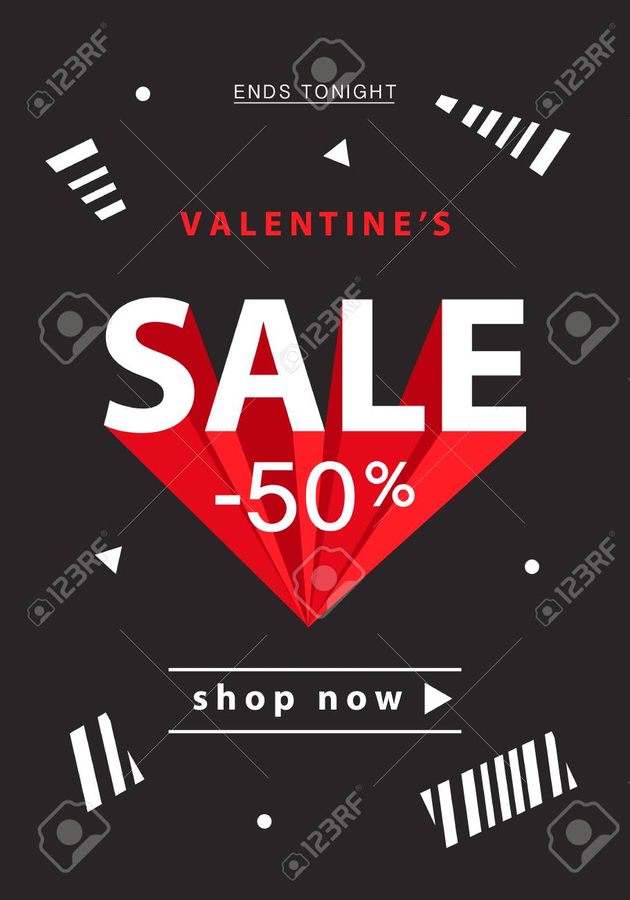 Valentines Day Sale Banner Template Royalty Free Cliparts Vectors