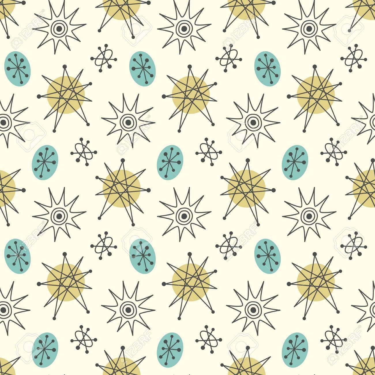 Mid century modern seamless pattern, stars in repetitive illustration. - 94982461