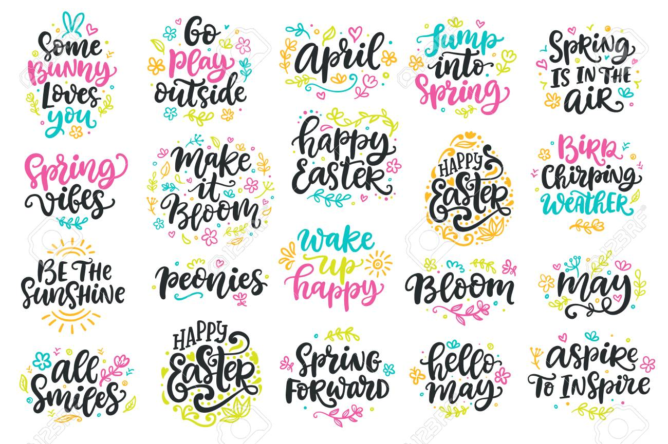 Spring and Easter modern calligraphy quotes set - 96310229