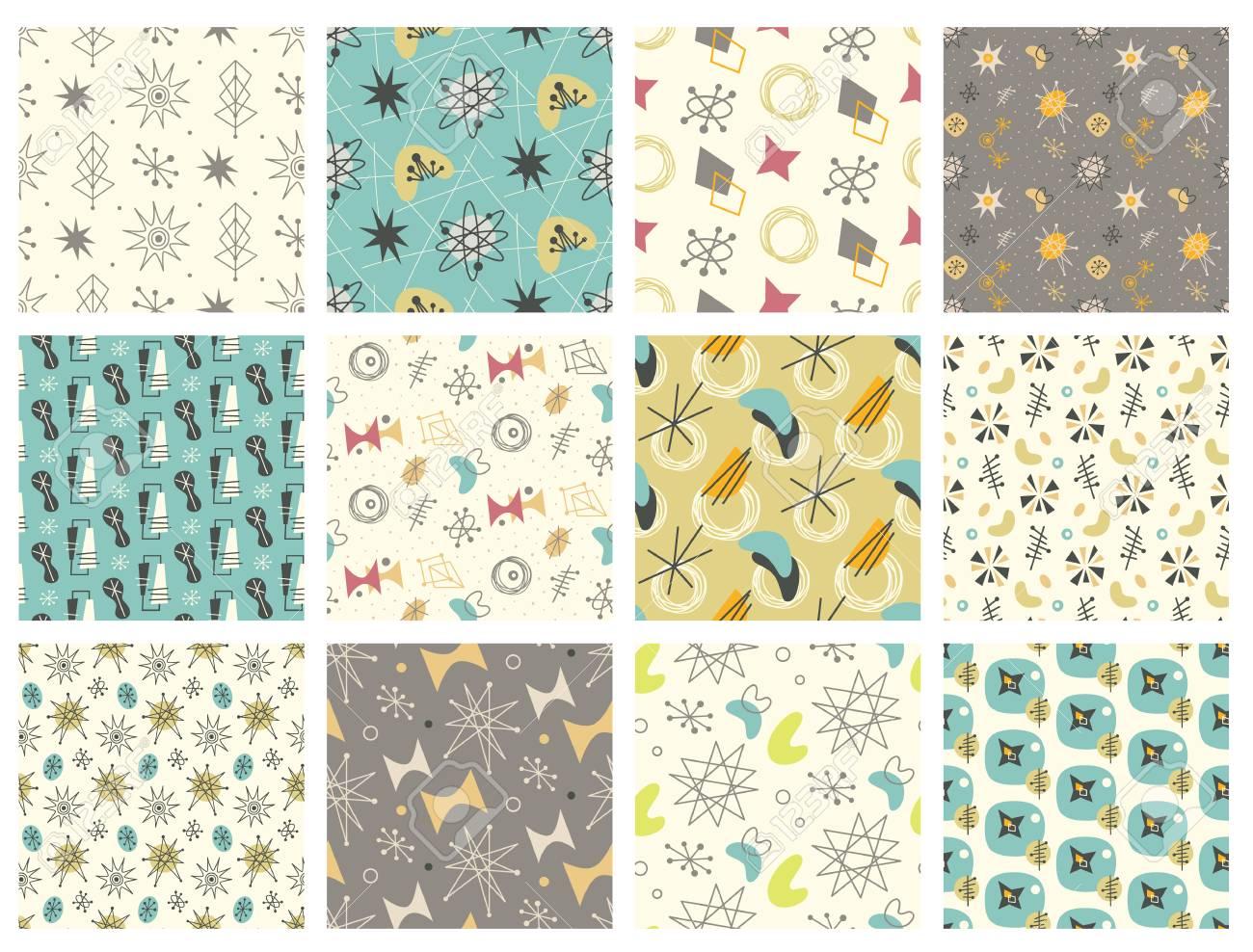 Set of Mid century modern seamless pattern - 96556686