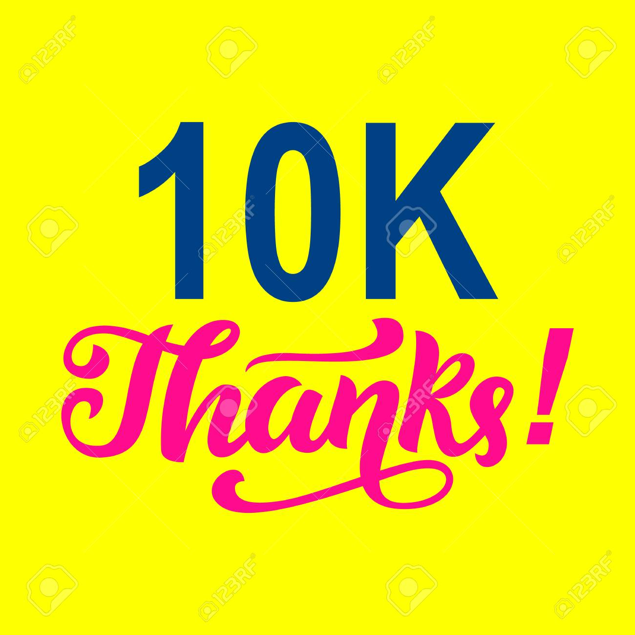10000 Followers Thanks. Congratulations Card Template Royalty Free ...