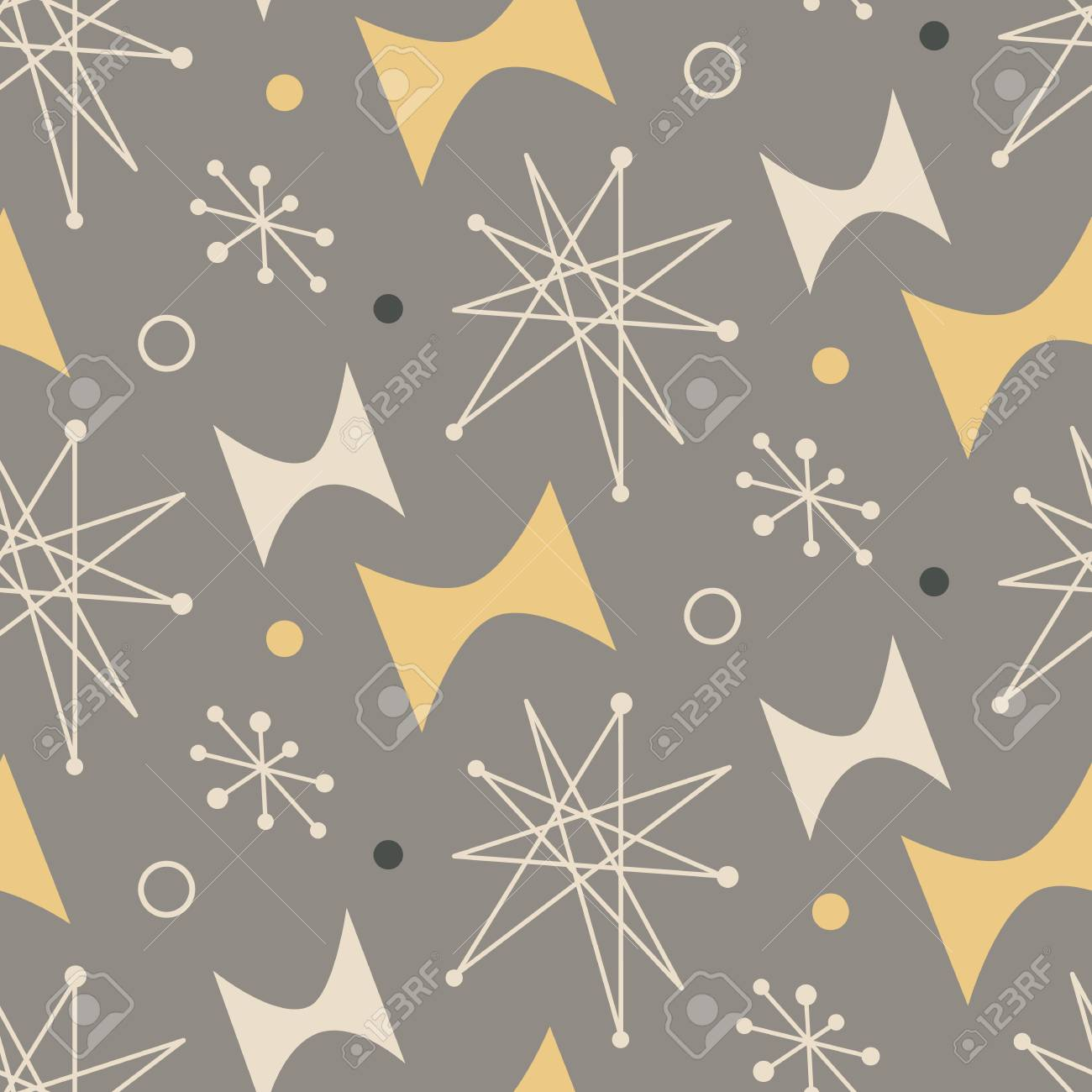 Mid Century Modern Seamless Pattern Royalty Free Cliparts Vectors