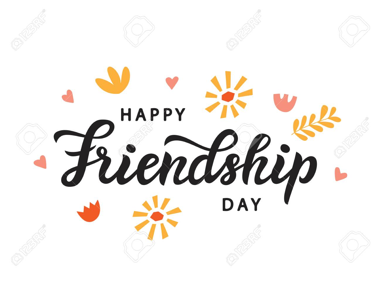 Happy Friendship Day Cute Poster Hand Written Brush Lettering Stock Vector