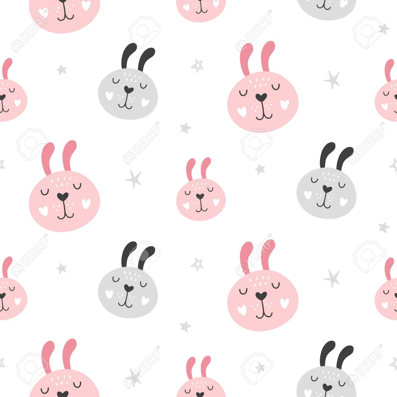 Nursery Childish Seamless Pattern Background With Rabbit Faces. Hand Drawn Scandinavian Style Trendy Textile, Wallpaper, Wrapping Paper Design. Vector illustration - 115003624