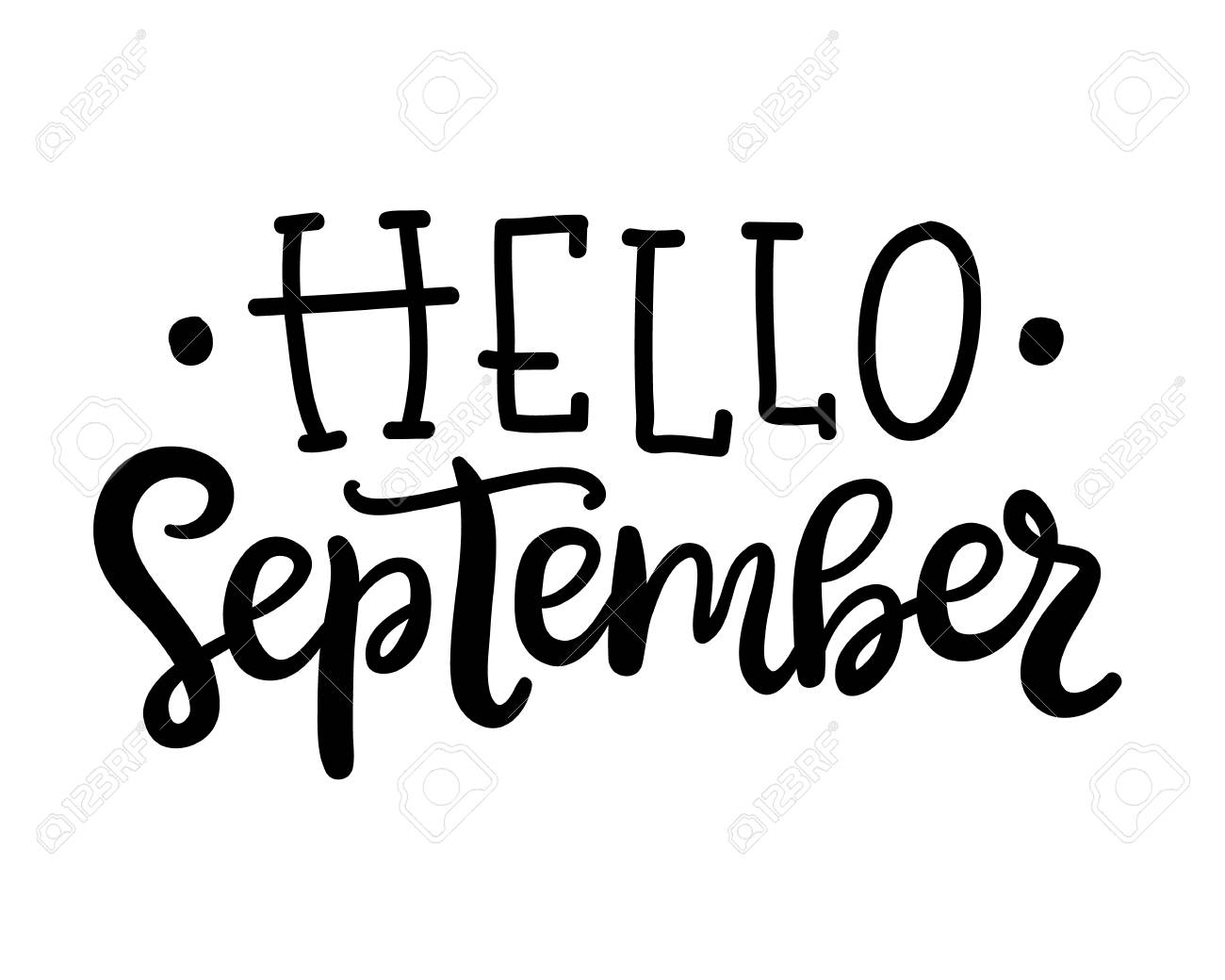 hello september poster autumn hand written ink lettering isolated on white seasonal calligraphy