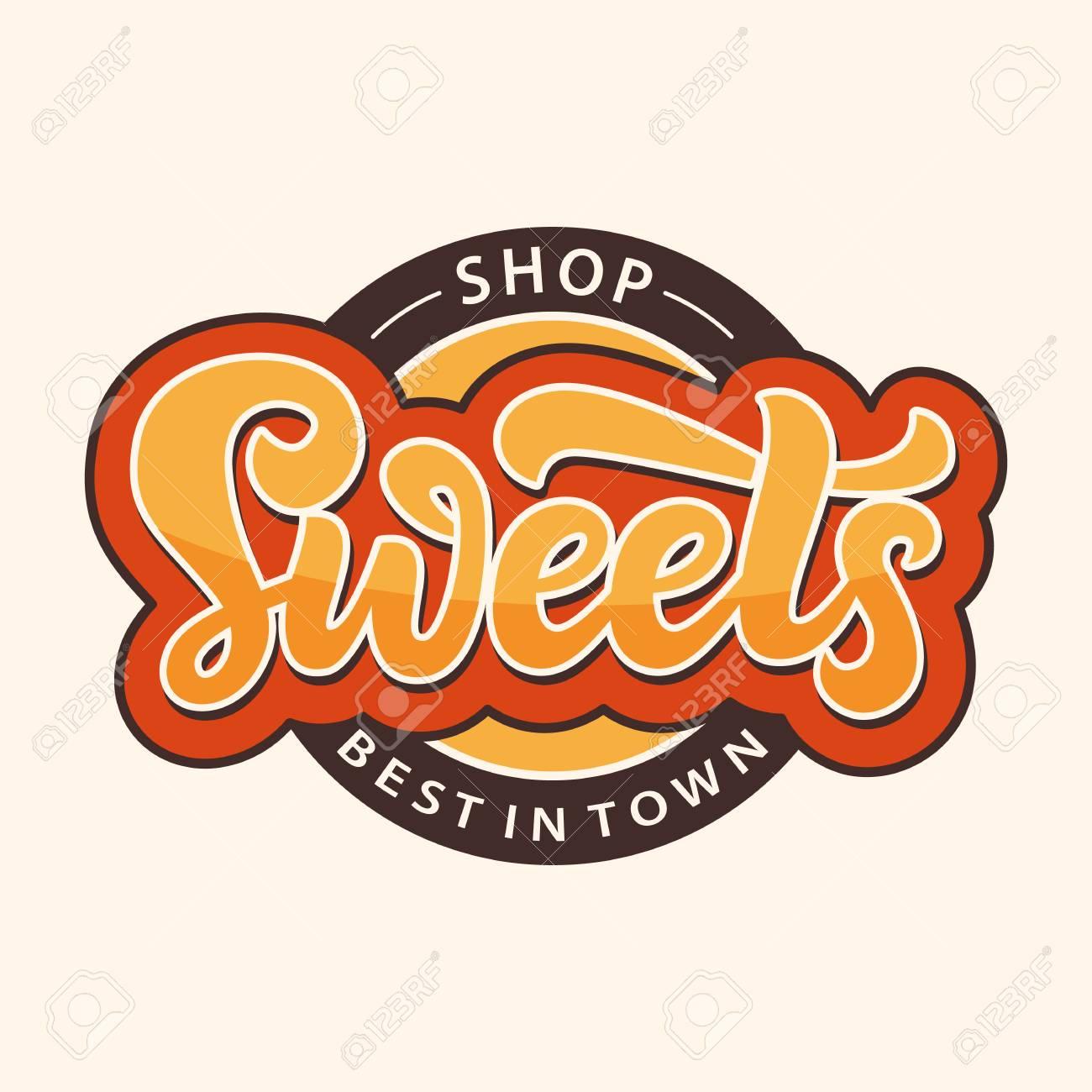 Sweets Shop logo label. Candy bar emblem design template - 112018345