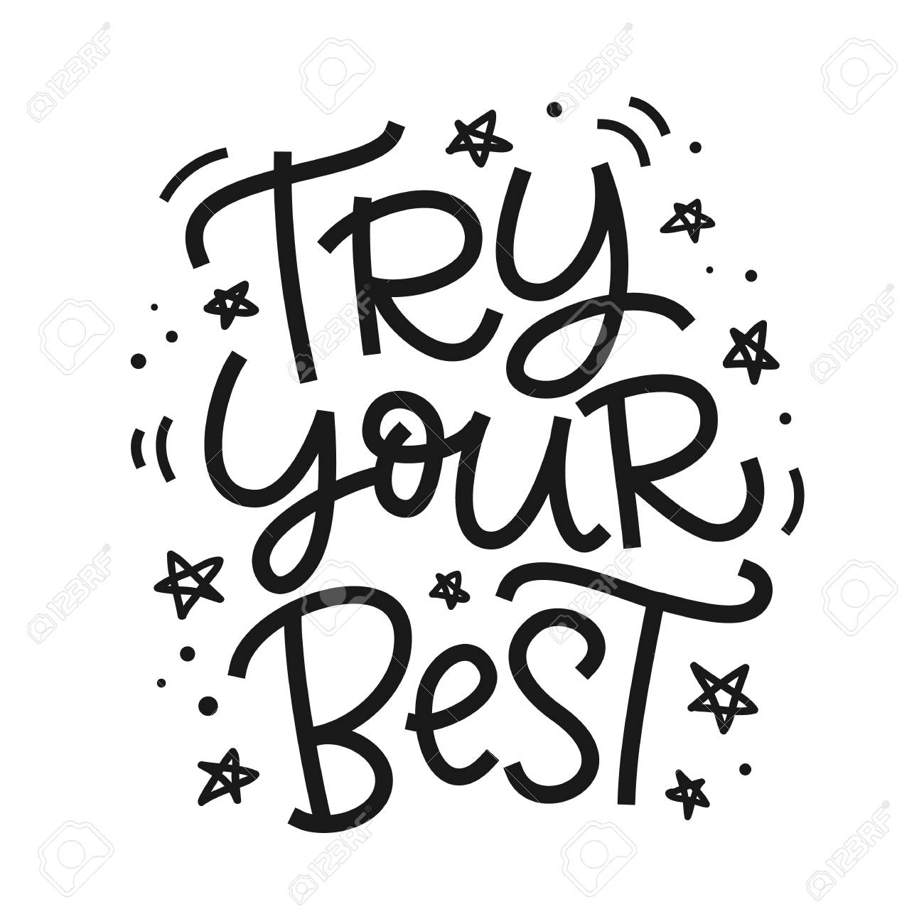 Try Your Best Freehand Poster Hand Lettering Motivational Phrase