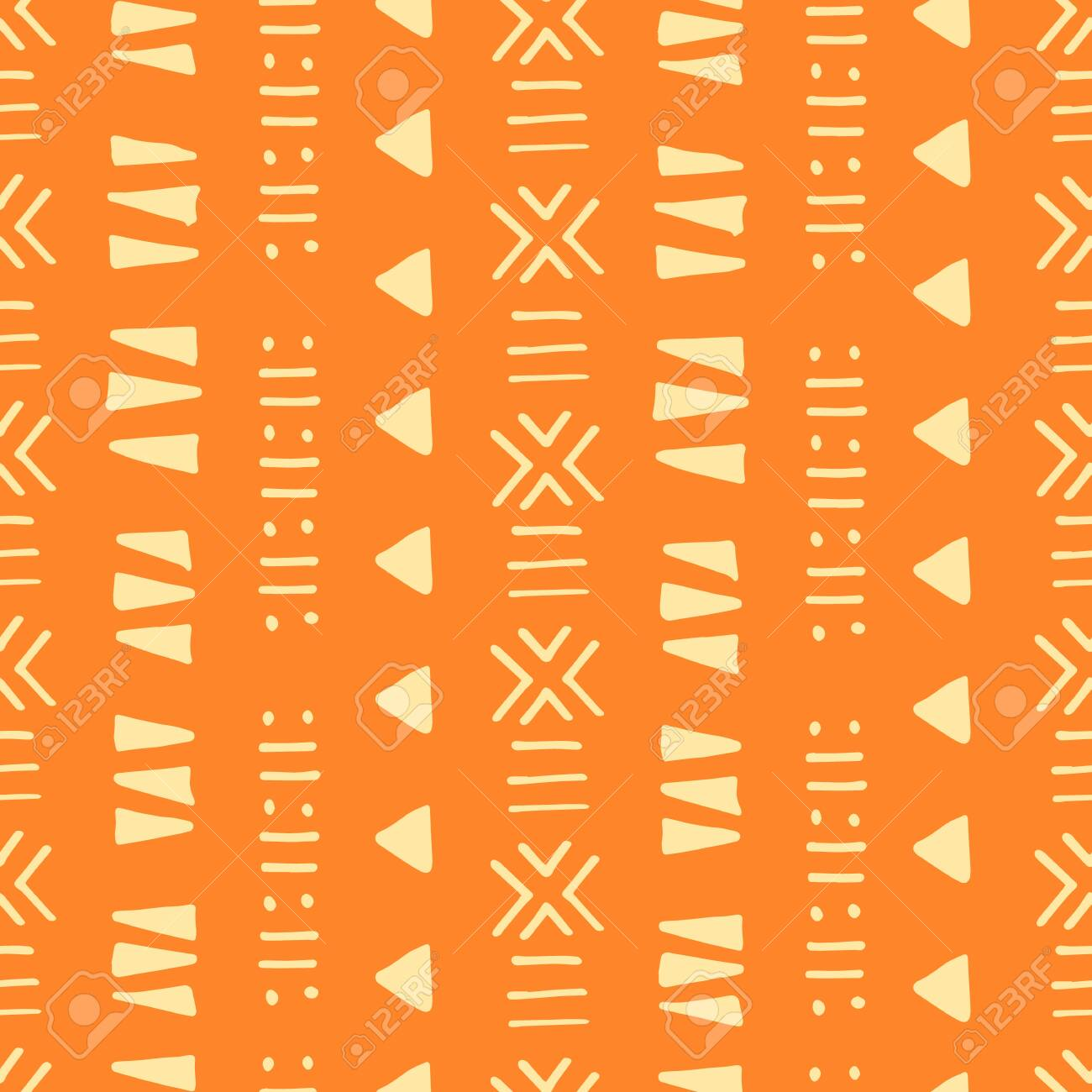 Tribal creative vector seamless pattern. Ethnic abstract geometric handmade african, aztec ornament for textile and surface design, package, wallpaper, web page backdrop, wrapping paper, - 127458386