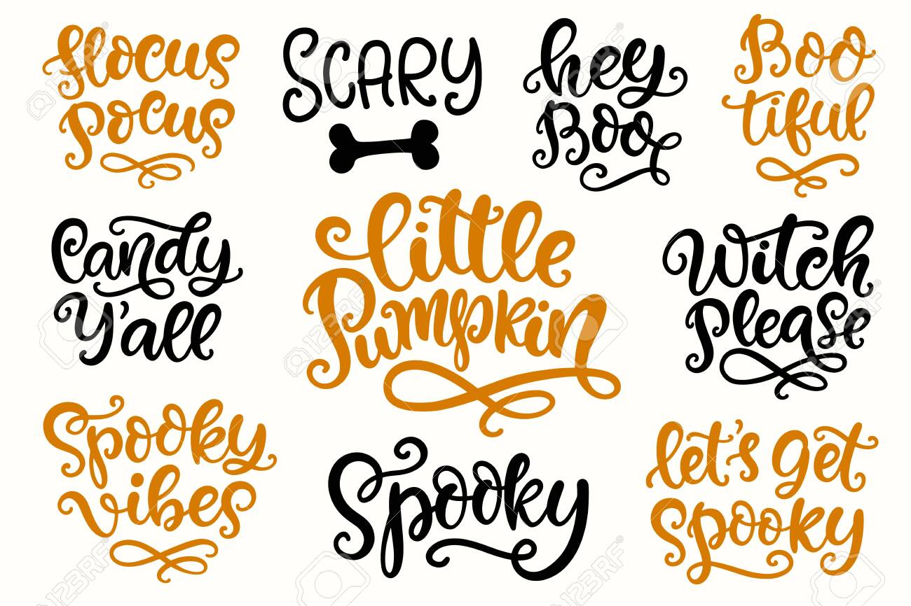 Halloween Party Lettering set. Hand written Ink Modern Calligraphy - 131734963