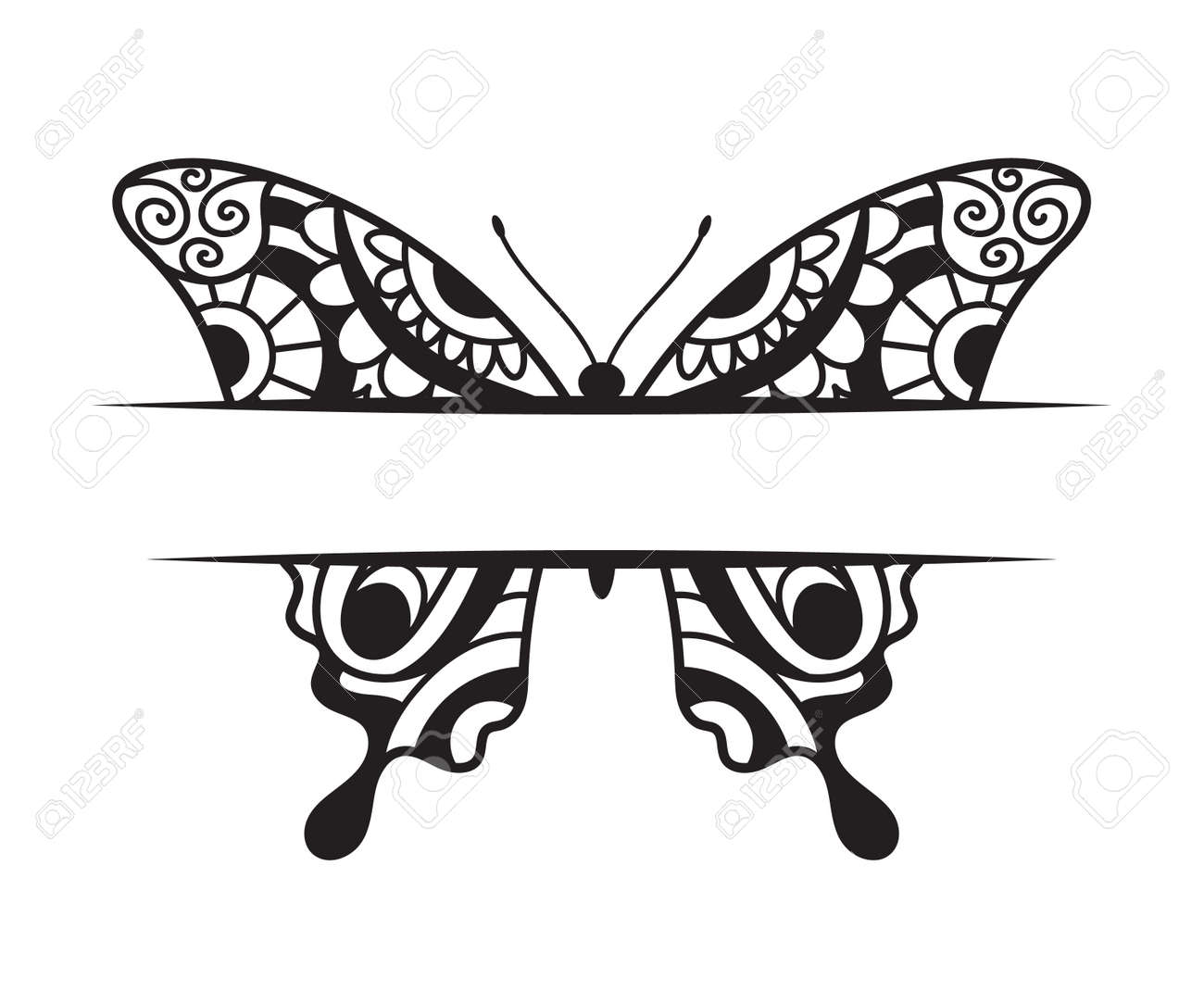 Beautiful Butterfly template with a copy space hand drawn ornamental artistic print - 173111734