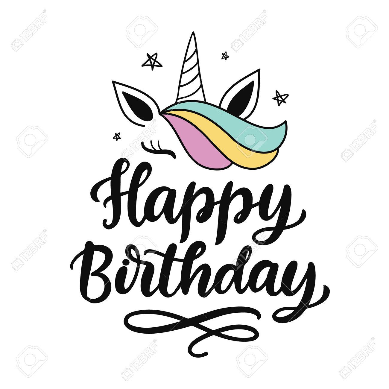 Happy Birthday cute hand written lettering - 173111736