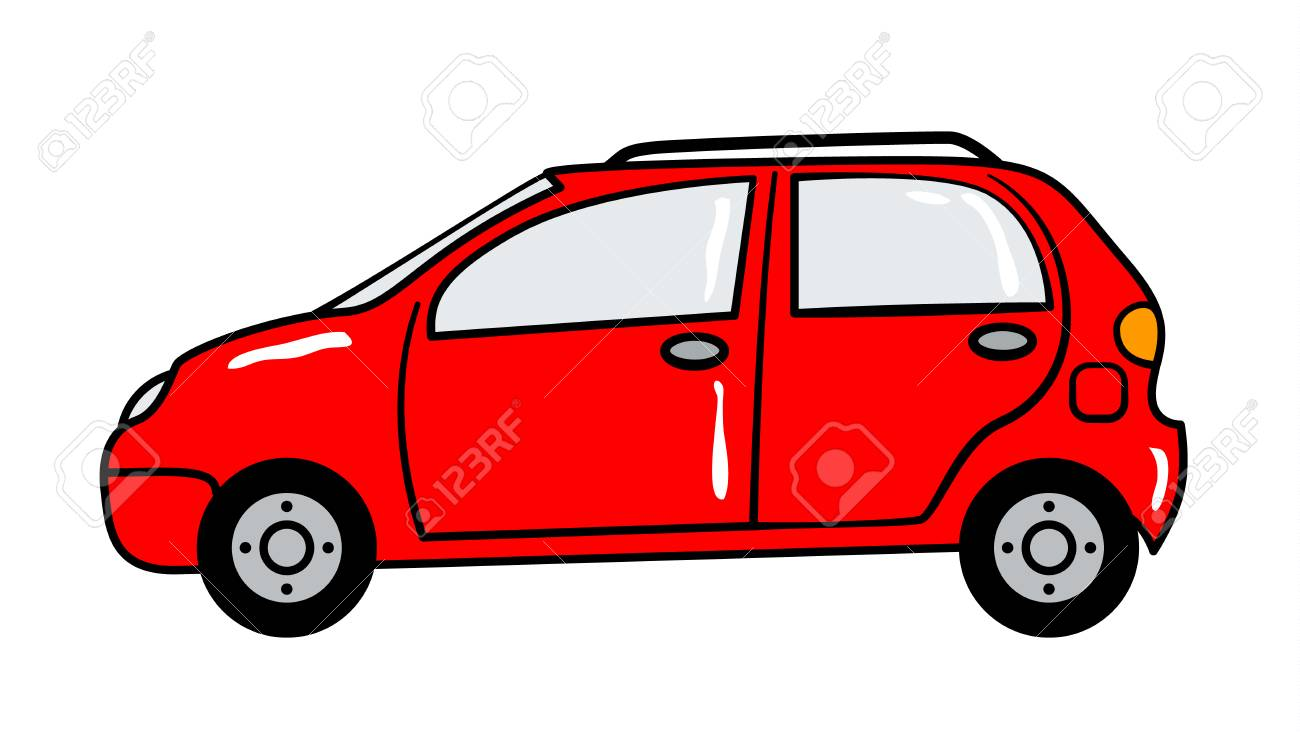 Car Cartoon Sticker In Retro Style On White Background Vector