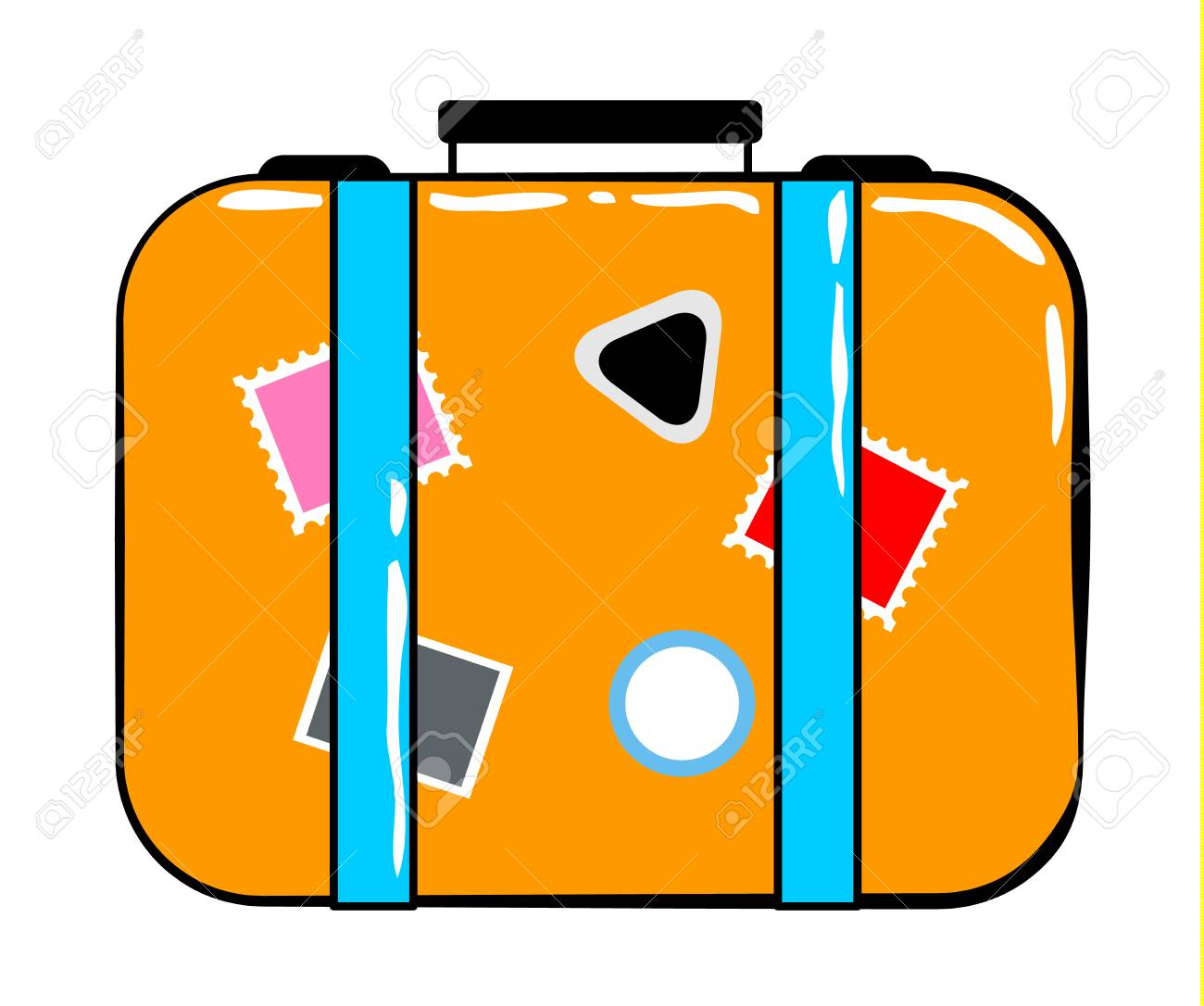 Valise Cartoon Sticker In Retro Style On White Background Vector Royalty Free Cliparts Vectors And Stock Illustration Image 71047897