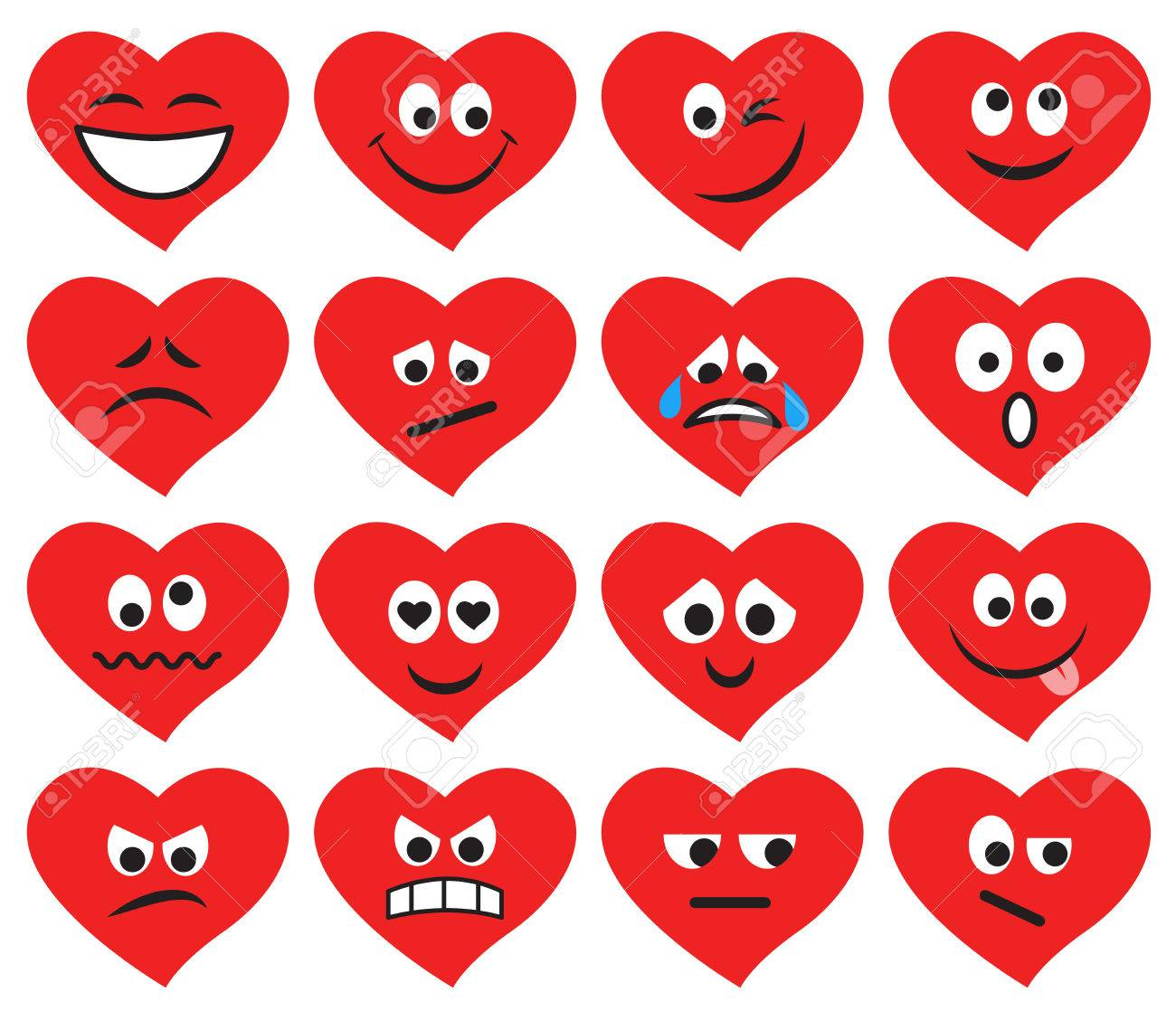 Set of emoticons and emojis in red heart form  Vector illustration