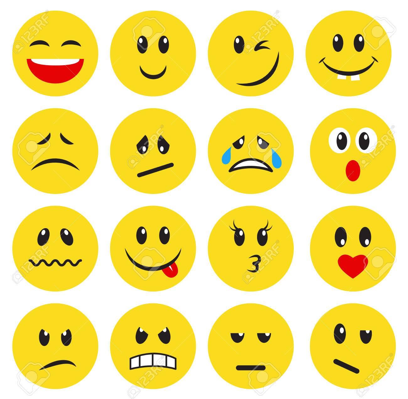 428f1aa0f54 Conjunto de emoticones amarillos y emojis. Ilustración de vector de estilo  plano sobre fondo blanco