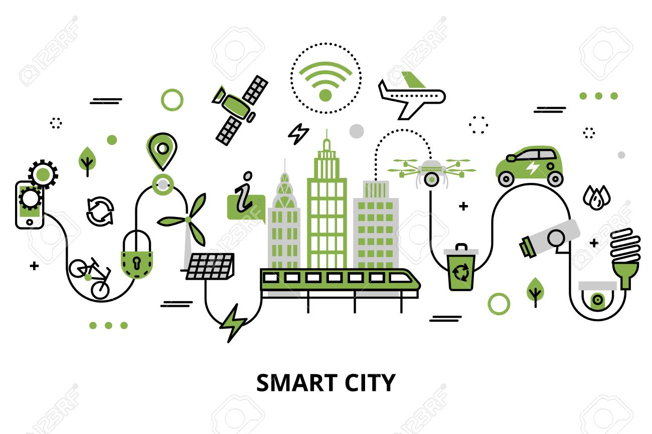 Modern flat line design, concept of smart city, technologies of future and urban innovations, for graphic and web design. - 94850383