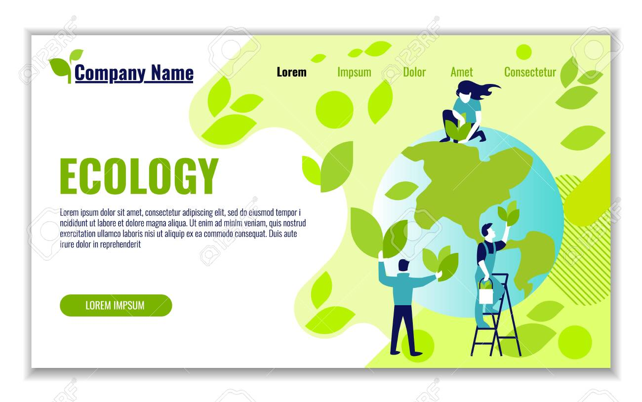 Website template of ecology and generation and saving green energy for graphic and web design, flat design vector illustration - 119845455