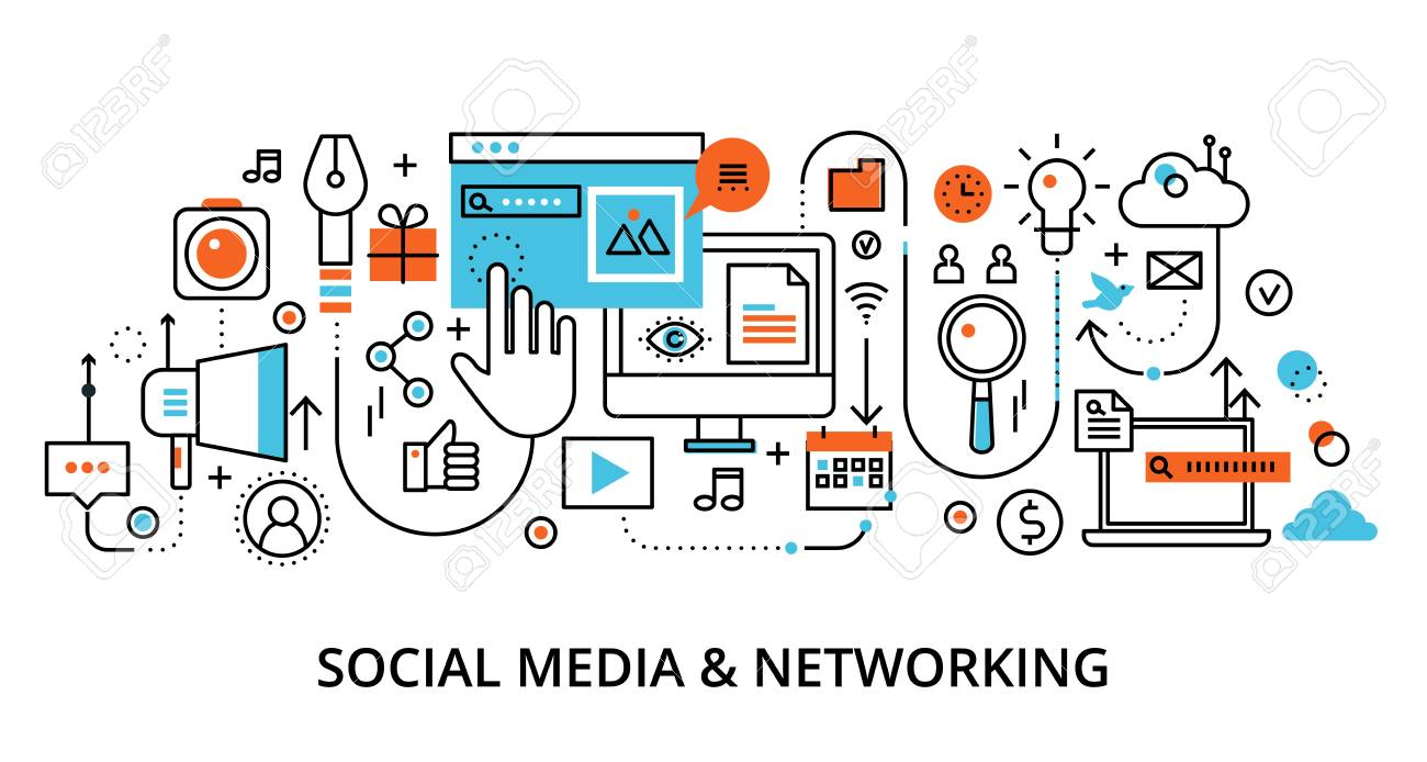 Modern flat line design vector illustration, concept of social media and social networking, for graphic and web design - 121770341