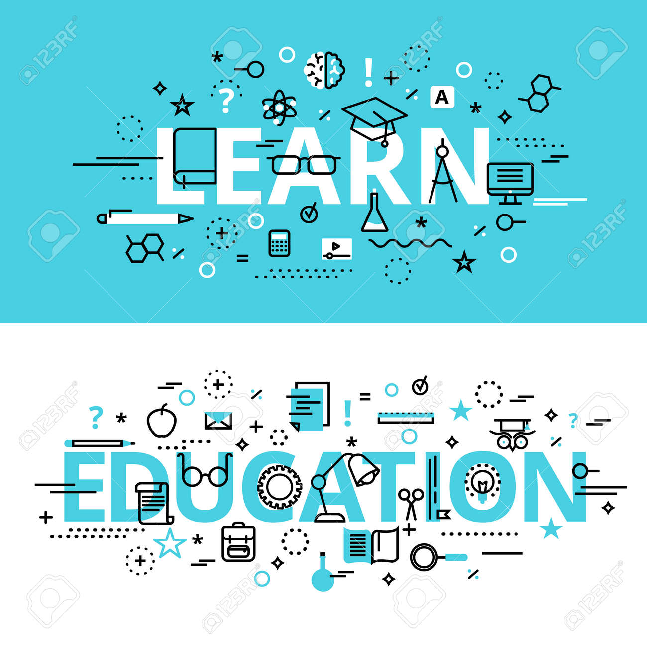 Set of Education and Learn concepts, modern flat thin line design vector illustration, for graphic and web design - 169271463