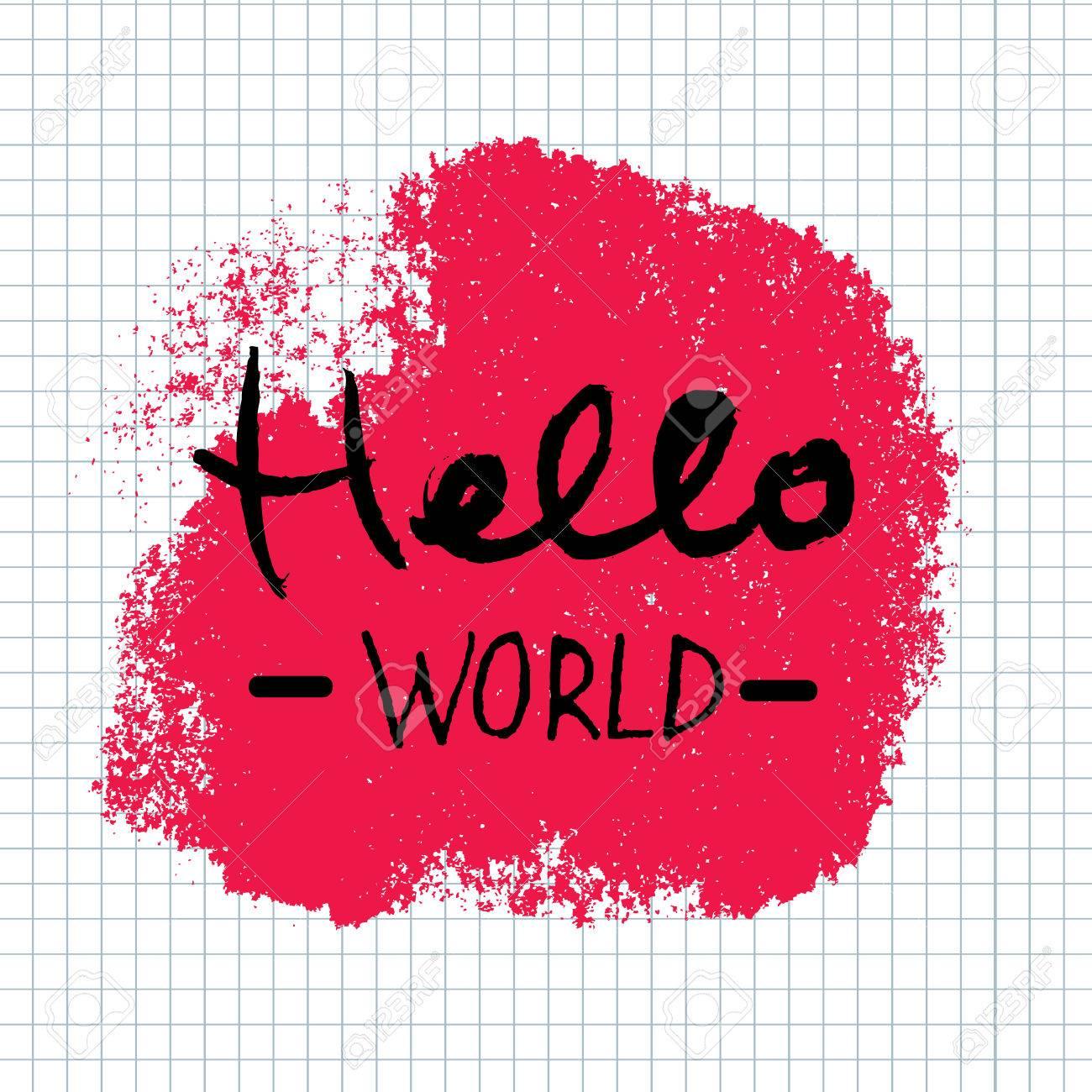 hello world lettering calligraphy hand written decorative word hand written decorative word design element banner phrase