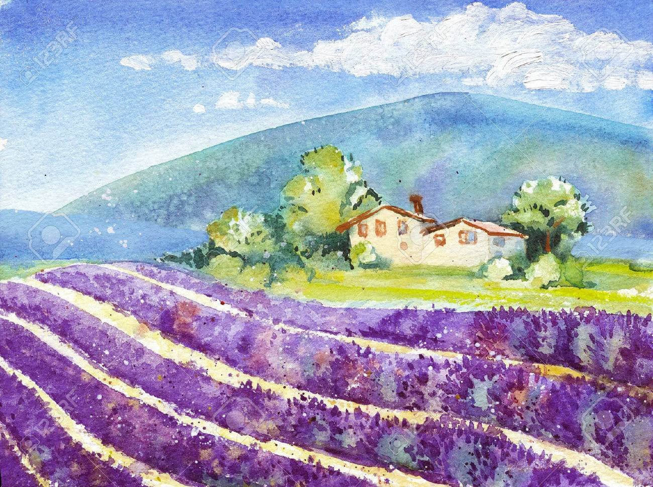家との距離で山で咲くラベンダー畑の美しい行旅行や休暇の水彩イラスト