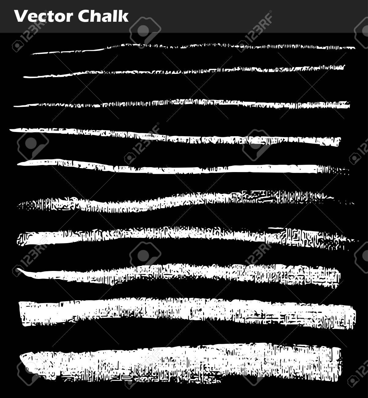 Vector Chalk Lines. Set of Vector Chalk Shapes Grunge Design Elements. Hand drawn illustration. - 125275370