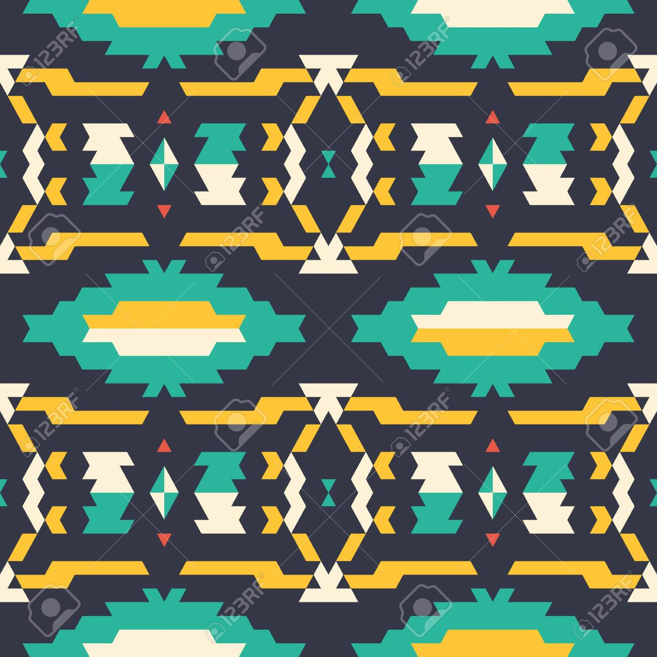 Aztec tribal seamless yellow and turquoise pattern on black background