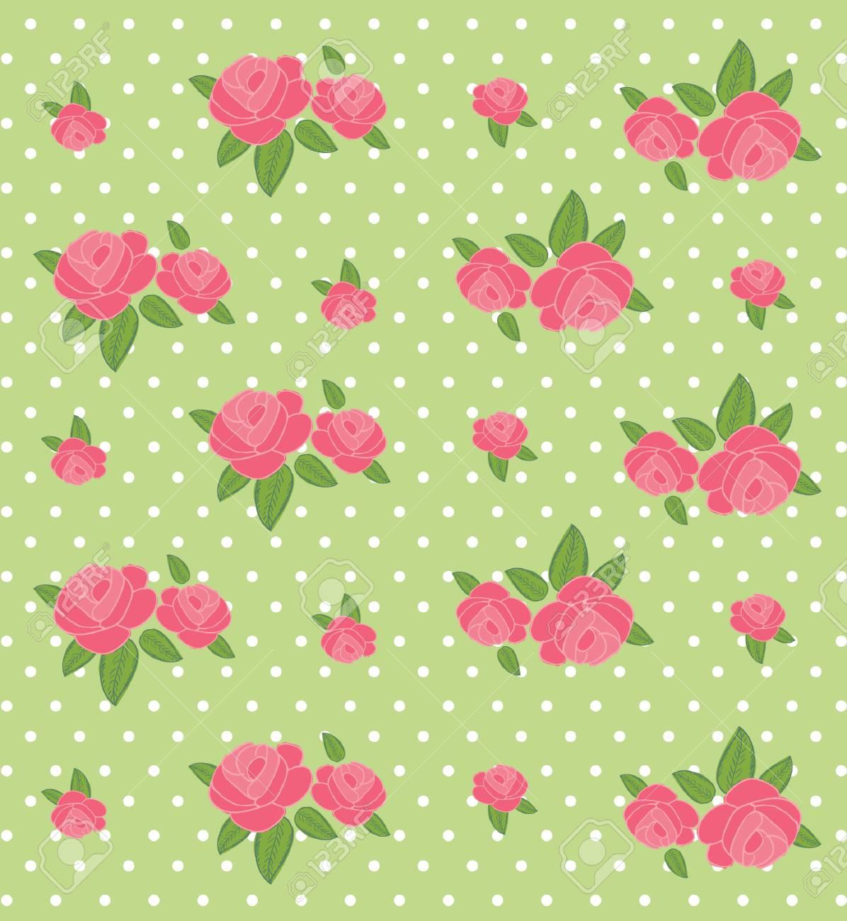 緑の背景の壁紙シームレスなヴィンテージ フラワー パターン イラスト
