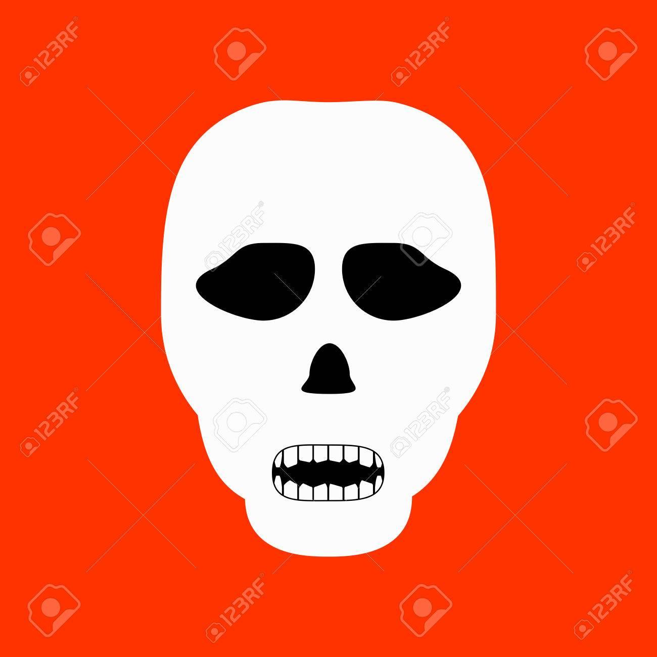 Cráneo Del Fantasma Aislado En El Fondo Naranja. Ilustraciones ...