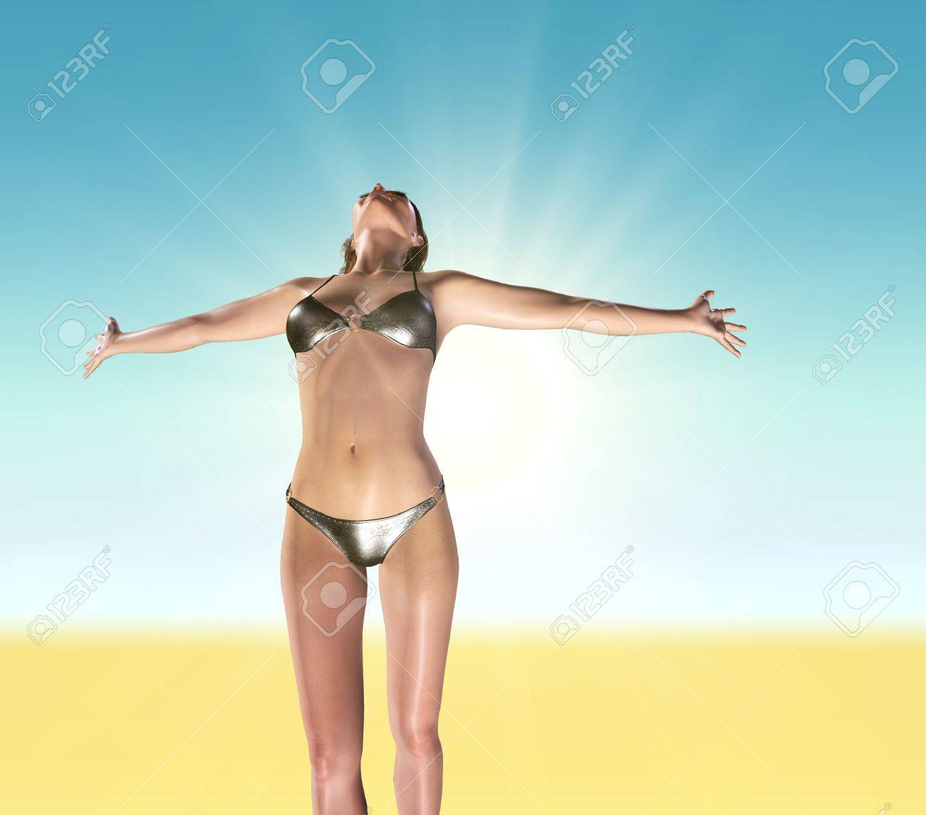 A young woman with arms stretched out to the sky Stock Photo - 11465870