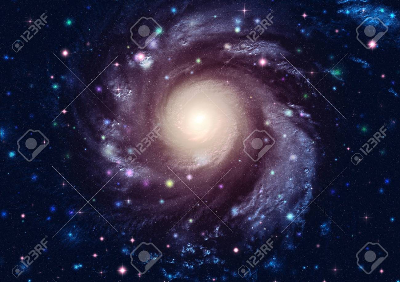 Big galaxy and planet in the starry space. Stock Photo - 12273495
