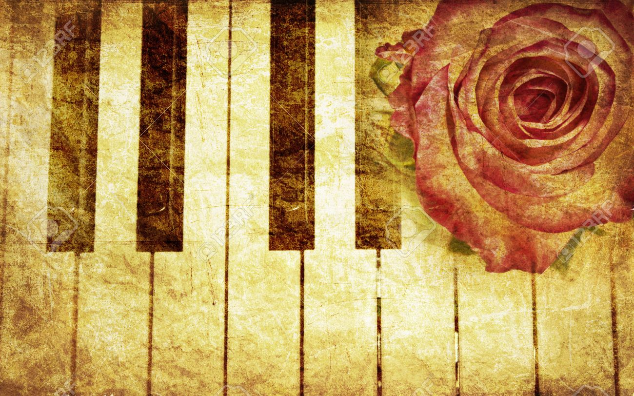 Abstract grunge rose and piano, vintage music background Stock Photo - 12977219