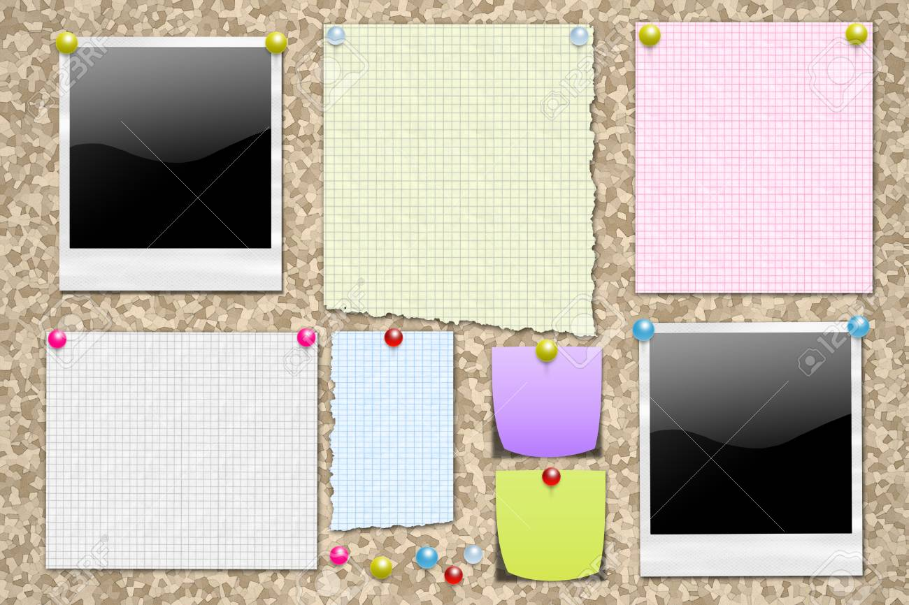 Cork notice board with pinned items. Perfect for a backgound. Stock Photo - 14242975