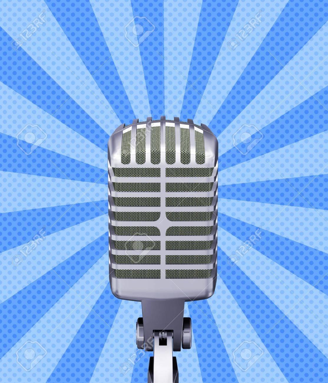 Illustration of classic retro microphone on blue background Stock Illustration - 14761403