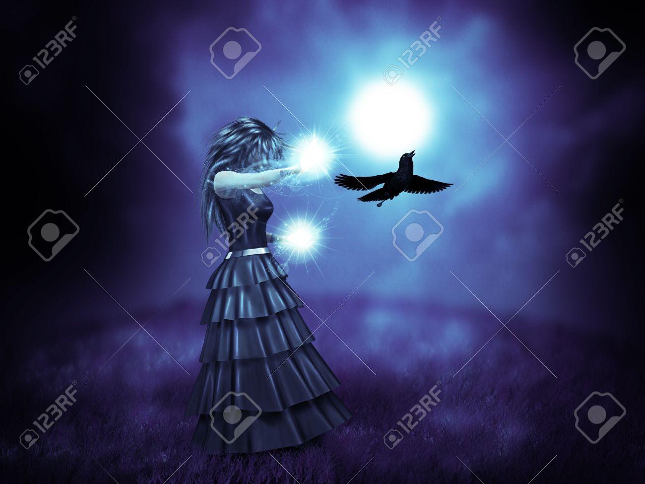 Ilustración Abstracta De La Mujer Vestida De Negro Y El Cuervo