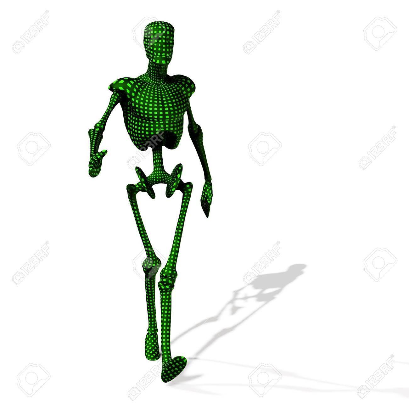 Abstract green cyborg, robot, futuristic cyber humanoid Stock Photo - 15147038