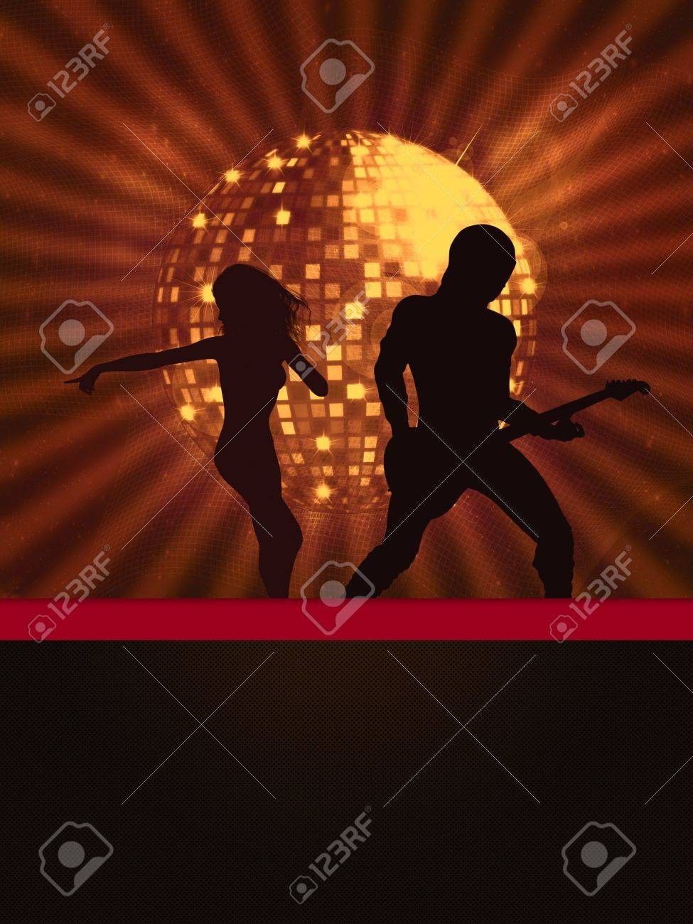 Illustration of party banner with disco ball and dancing people. Stock Photo - 15281929