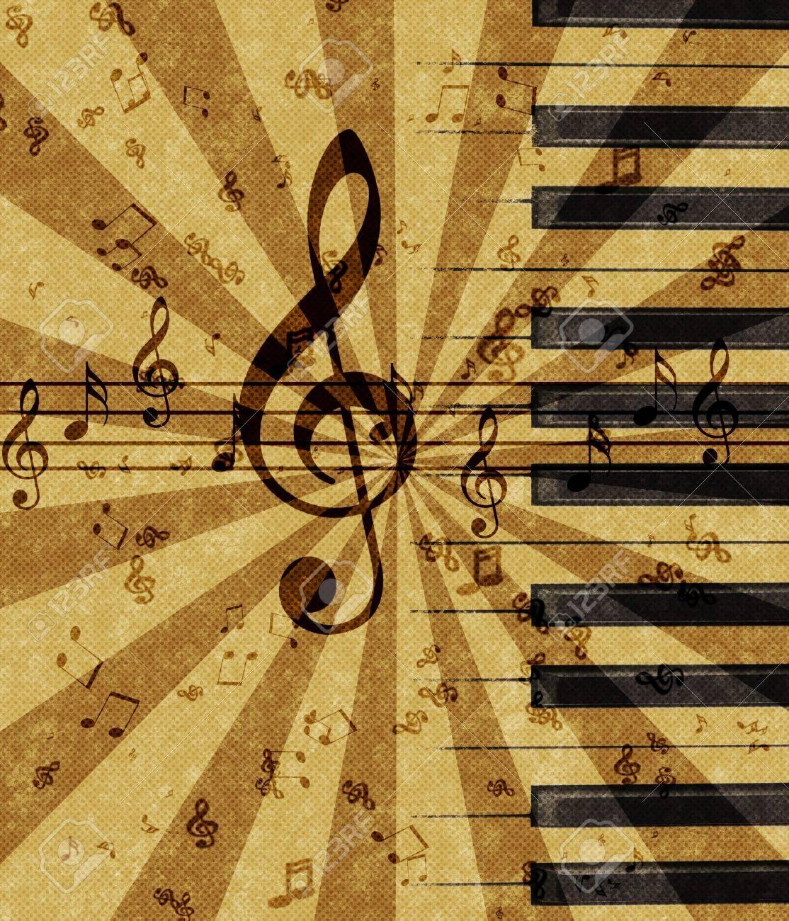 Grunge Illustration Of Music Notes On Old Paper Sheet Background ...