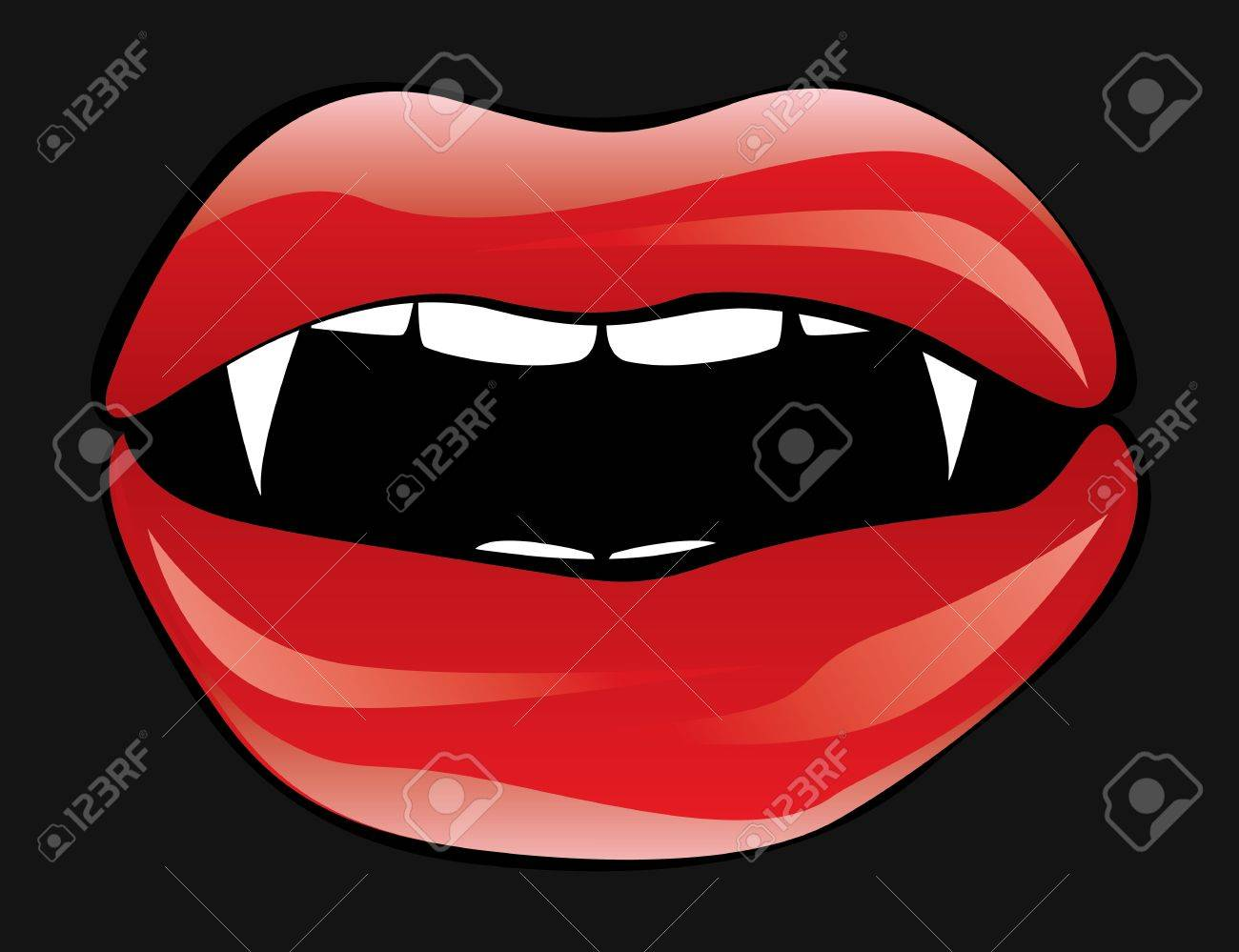 Illustration of red vampire lips on dark background. Stock Vector - 15802254
