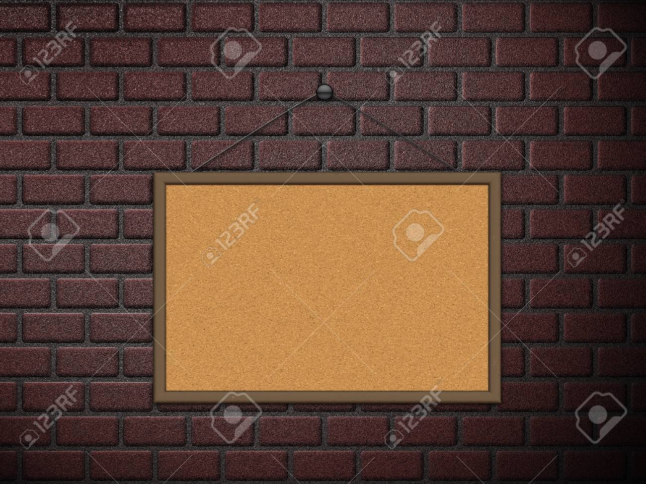 Illustration of blank cork board on old brick wall background Stock Illustration - 16003490