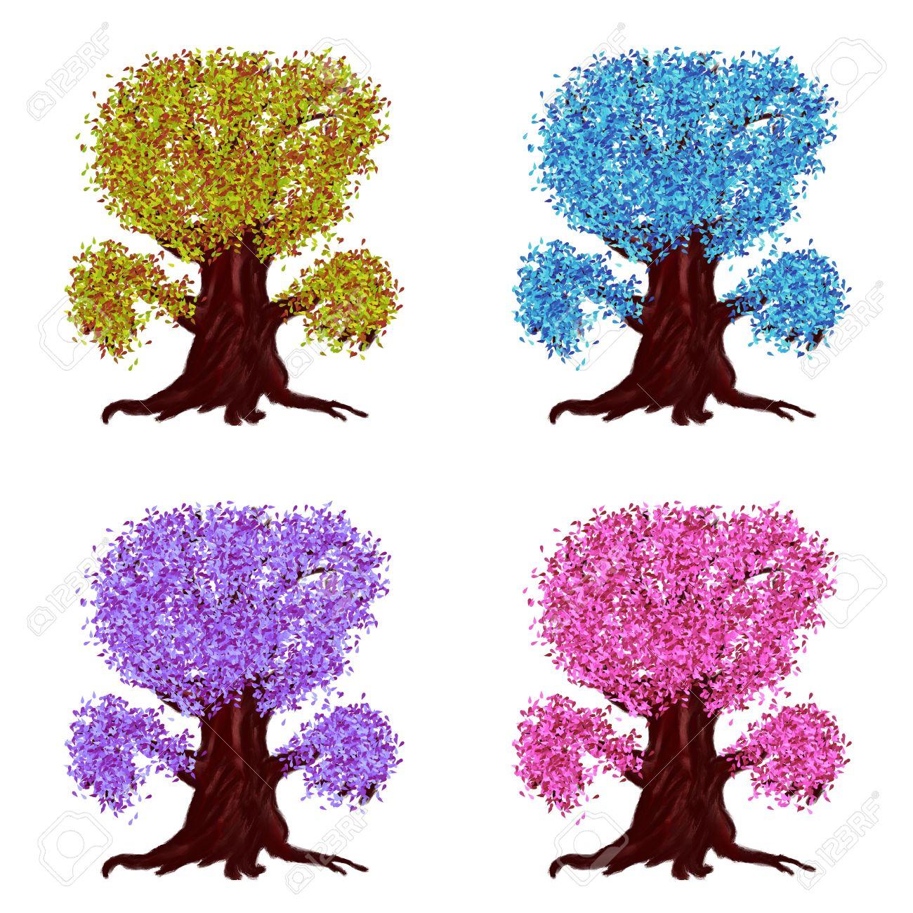 Ilustración Digital Abstracta De árboles De Fantasía De Dibujos Animados  Con Hojas De Diferentes Colores. Fotos, Retratos, Imágenes Y Fotografía De  Archivo Libres De Derecho. Image 16003461.