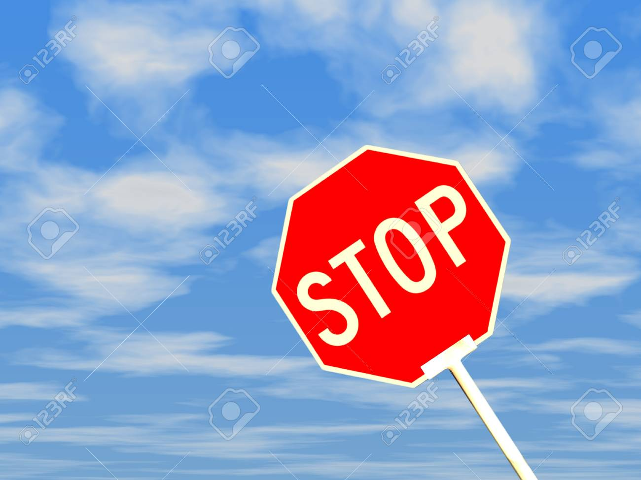 3d stop sign against blue sky and white clouds. Stock Photo - 16292053