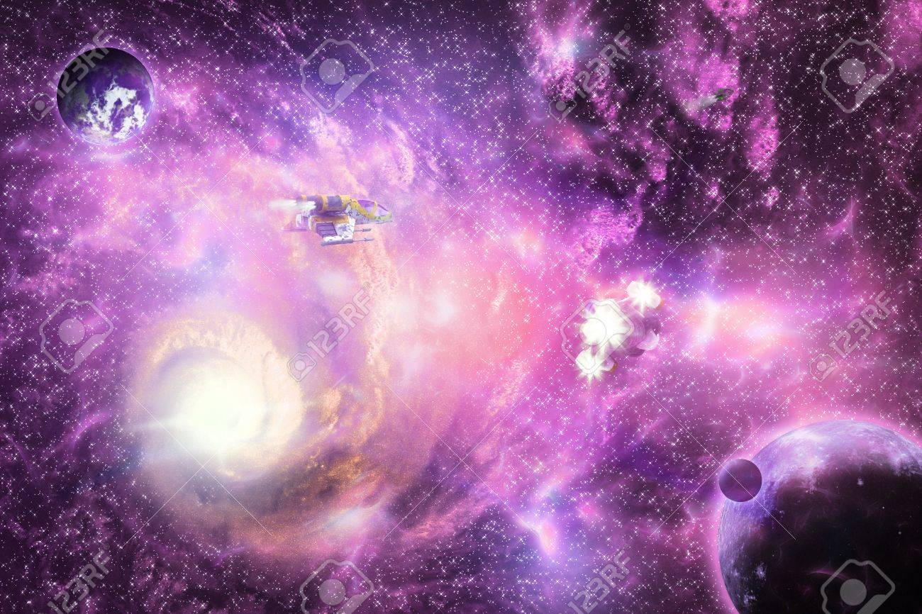 Illustration Of Deep Space Bright Colorful Galaxy With Planets Stock Photo Picture And Royalty Free Image Image 16403440