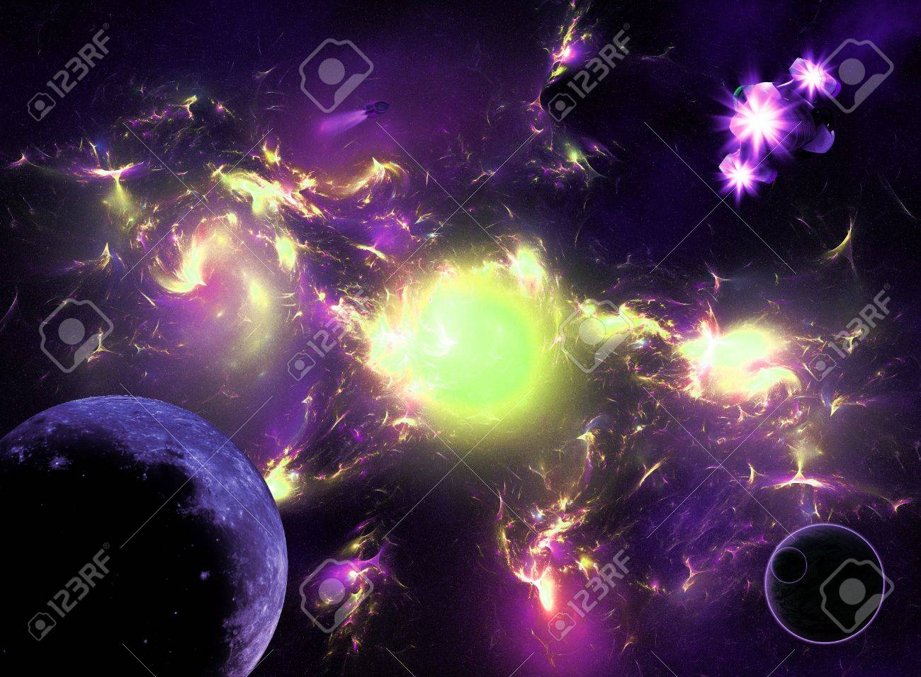 Colorful Galaxy With Planets