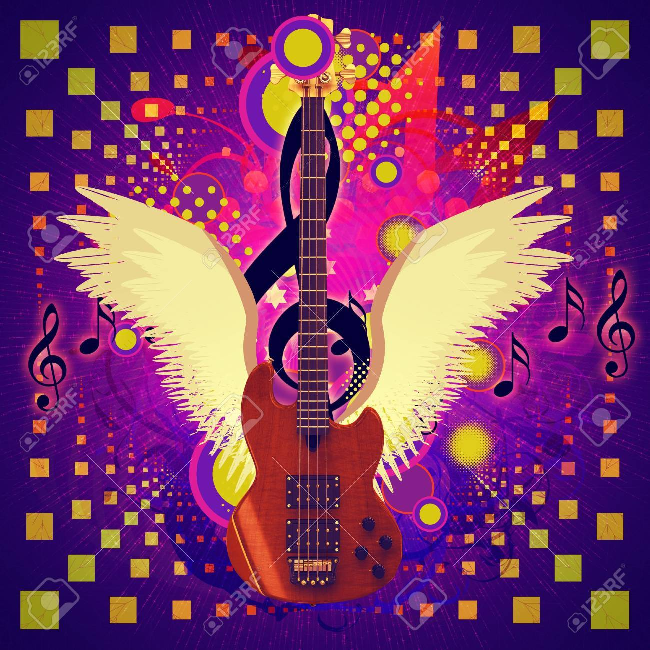 Illustration of abstract musical background and guitar with wings. Stock Illustration - 16553810