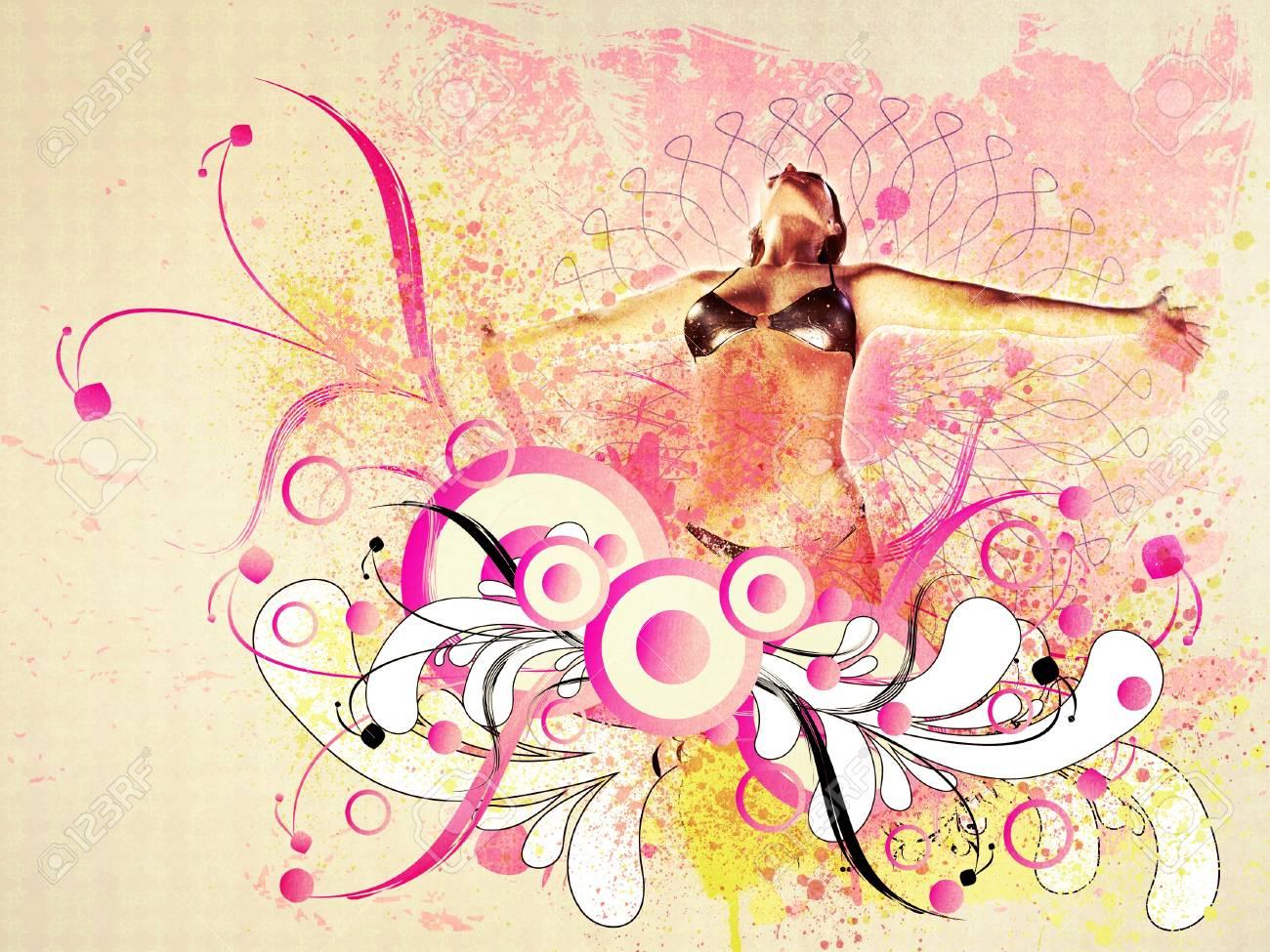 夏の花飾りの女の子の抽象的なイラスト の写真素材画像素材 Image