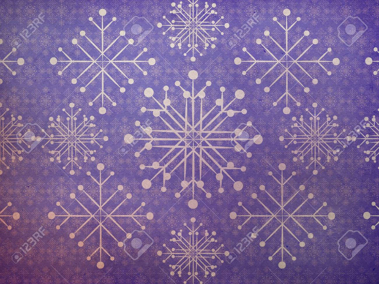 illustration of abstract vintage snowflake texture violet background