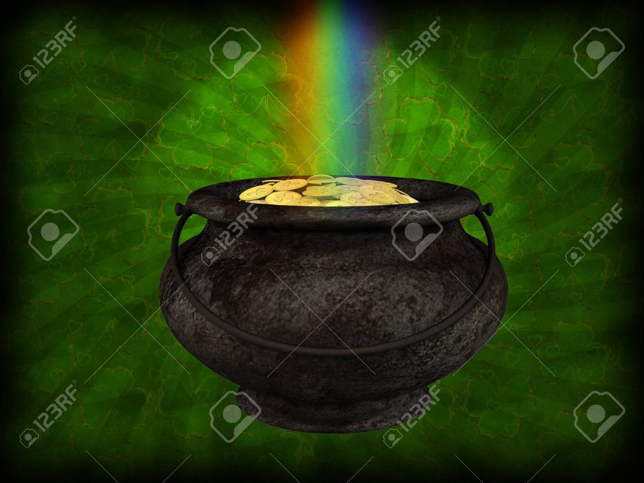 Illustration of old big pot with golden coins background. Stock Photo - 16954039