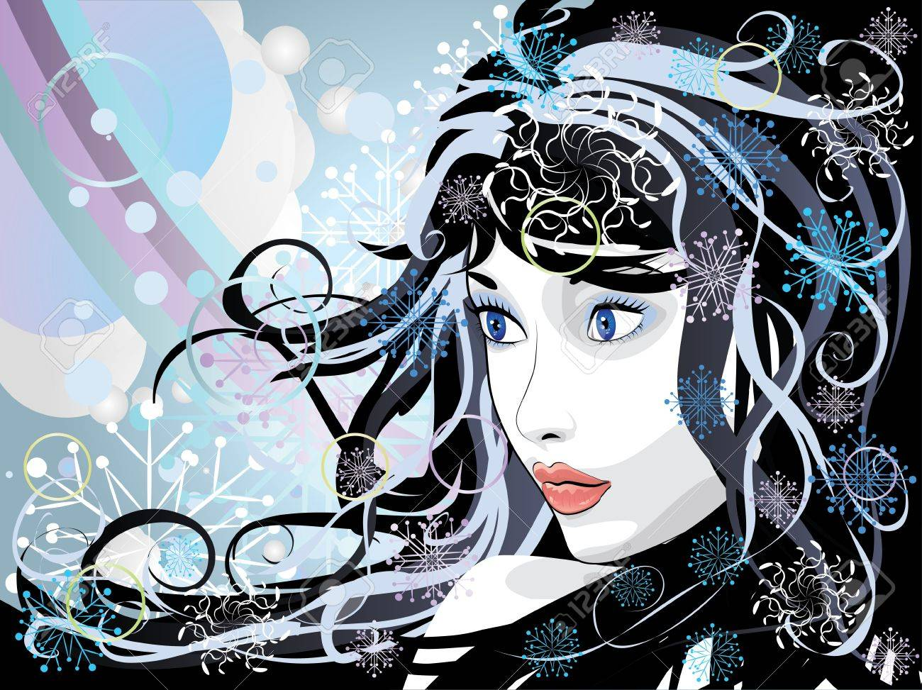 Illustration of abstract portrait of winter girl background. Stock Vector - 17009433