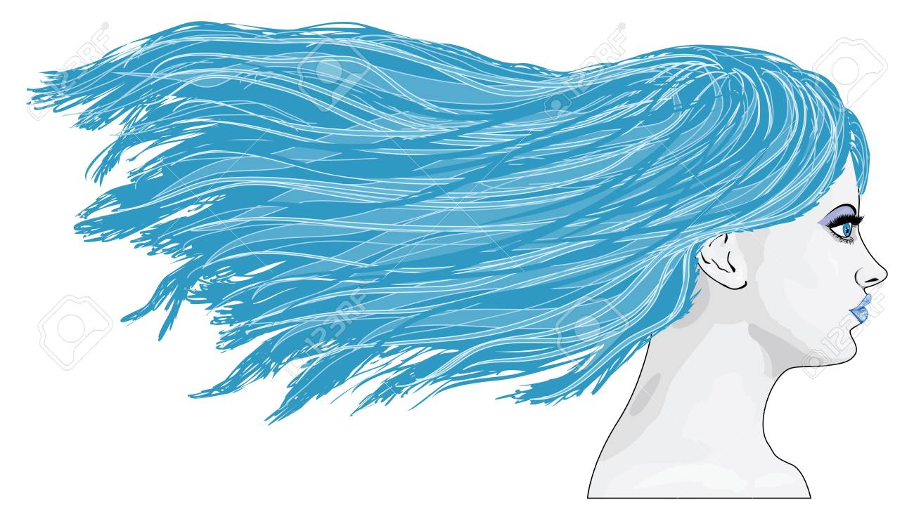 Illustration of abstract winter girl with long blue hair. Stock Vector - 17009424